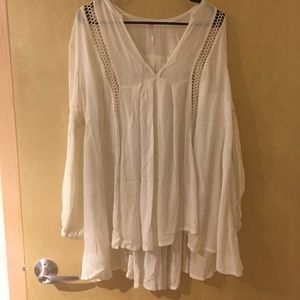 Well-loved Free People Cream Lace Tunic